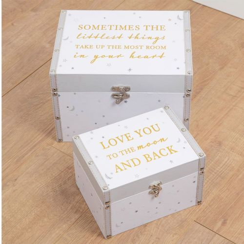 Pale Grey Nursery Storage Boxes - Se of 2 Baby's Keepsake Chests - New Baby, Christening, Gift